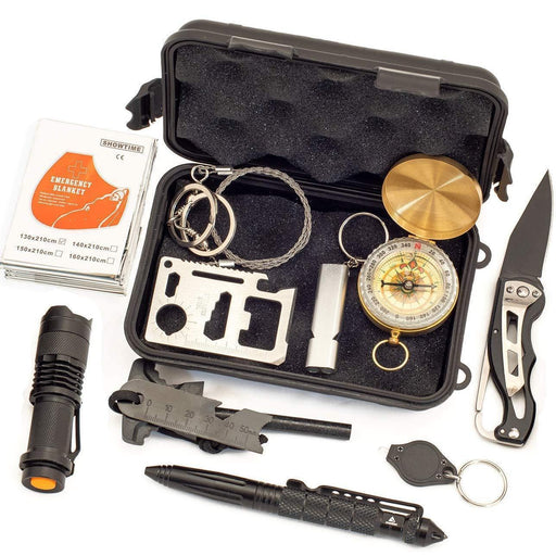 JINAGER Survival Gear Kit 11 in 1, Professional Outdoor Emergency Survival Tool with Military Compass - iregalijoy.com