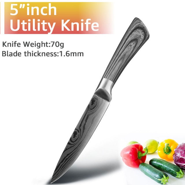 Kitchen Knife 5 7 8 inch 7Cr17 440C Stainless Steel Utility Cleaver Chef Knife Damascus Drawing Meat Santoku Cooking Tool Set - iregalijoy.com