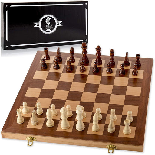 "Chess Armory 15"" Wooden Chess Set with Felted Game Board Interior for Storage - iregalijoy.com"