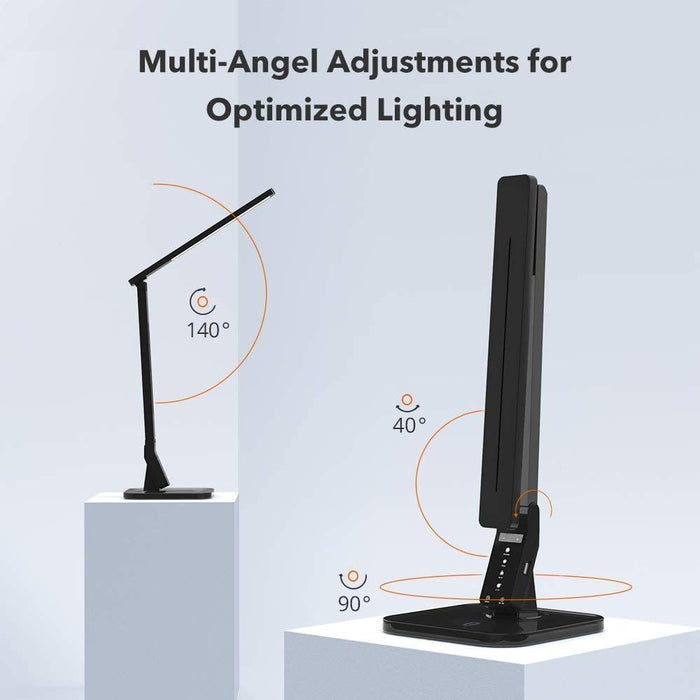 LED Desk Lamp with USB Charging Port, 4 Lighting Modes with 5 Brightness Levels, 1h Timer, Touch Control, Memory Function,14W, - iregalijoy.com