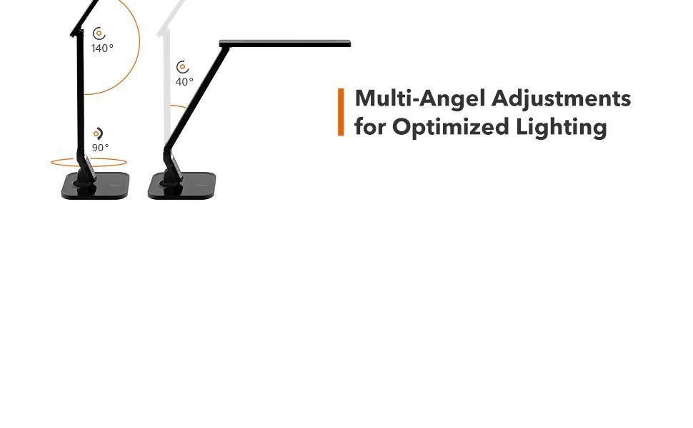 LED Desk Lamp with USB Charging Port, 4 Lighting Modes with 5 Brightness Levels, 1h Timer, Touch Control, Memory Function,14W, - iregali