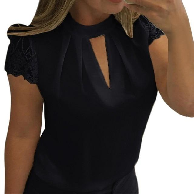 Lace Blouses Women Hollow Out Sexy Tops Solid Casual Office Shirts Plus Size 5xl Blousas V Neck - iregalijoy.com