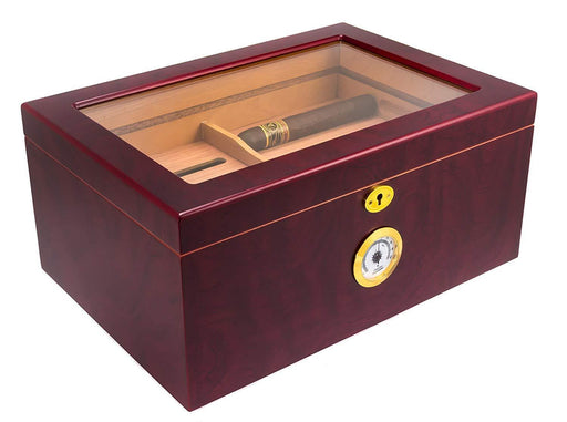 Large Glass-Top Cigar Humidor Humidifier Box with Hygrometer and Cedar Tray - iregalijoy.com