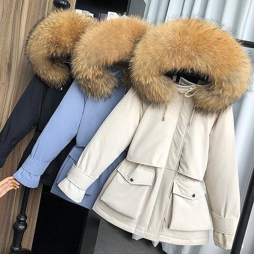 Large Natural Raccoon Fox Fur Hooded Winter Down Coat Women 90% White Duck Down Jacket Thick Warm Parkas Female Outerwear - iregalijoy.com