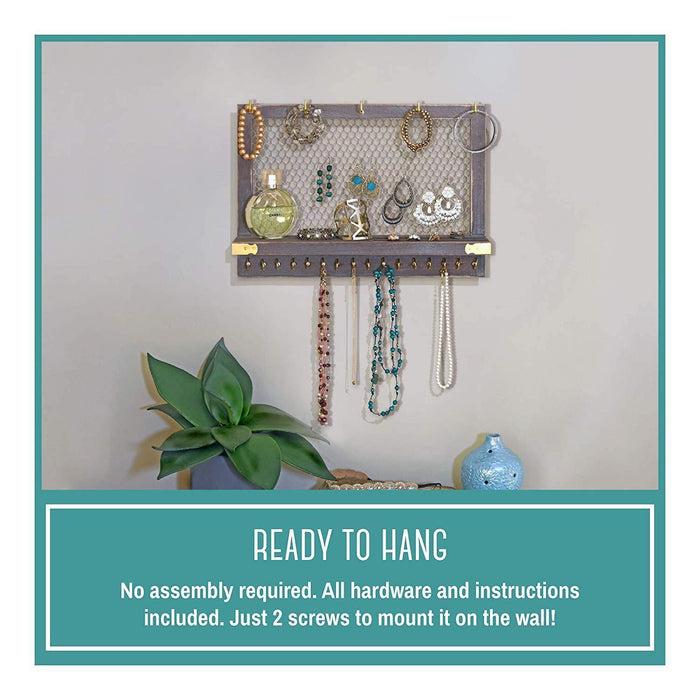 Large Rustic Farmhouse Vintage Wall Mounted Hanging Jewelry Organizer, - iregalijoy.com