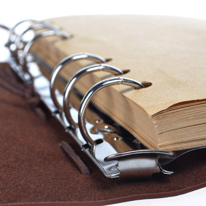 Leather Writing Journal Notebook, Classic Spiral Bound Notebook Refillable Diary Sketchbook - iregalijoy.com