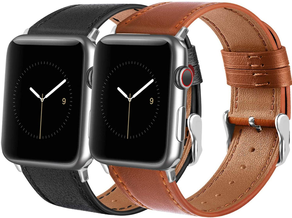 Leather Bands Compatible with Apple Watch Band 38mm 40mm 42mm 44mm Women Men, Top Grain Leather Wristband - iregalijoy.com