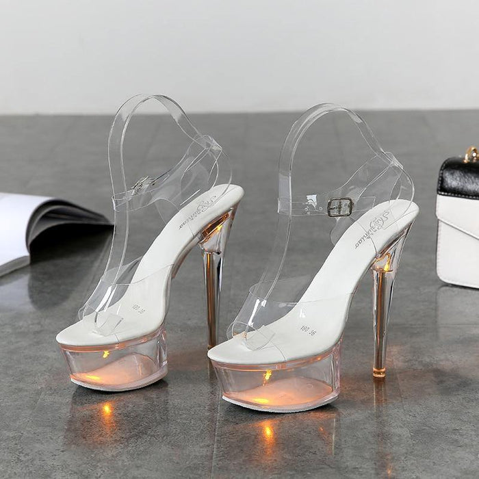 Light Up Glowing Shoes Woman Luminous Clear Sandals Women Platform Shoes Clear High Heel Transparent Stripper Wedding Shoes - iregalijoy.com