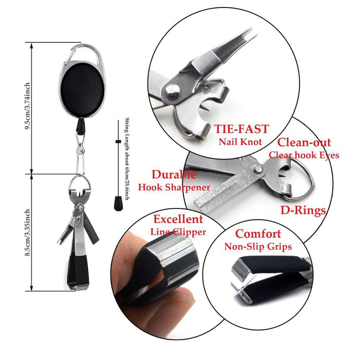 Pro Fast Tie Fishing Quick Knot Tool Nail Knotter Tying Line Cutter Clipper Nipper w/ Zinger Retractor Tackle Accessories - iregalijoy.com