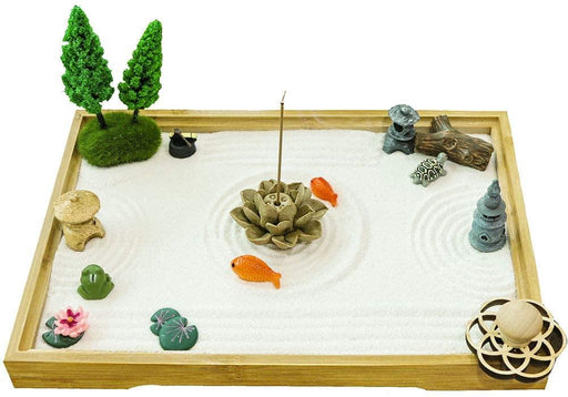 abletop Meditation Zen Garden Gifts – Japanese Calming Miniature Desktop Rock Sand Set Decor Indoor Office Relaxation Sandbox Kits Tools Accessories Bamboo Tray Stamp Rake Pagoda Bonsai Tree Plant - iregalijoy.com