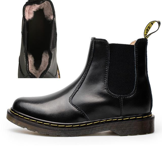 Men women Rain Boots Chelsea Boots for Man Slip-on Genuine Leather Waterproof Ankle Boots - iregalijoy.com