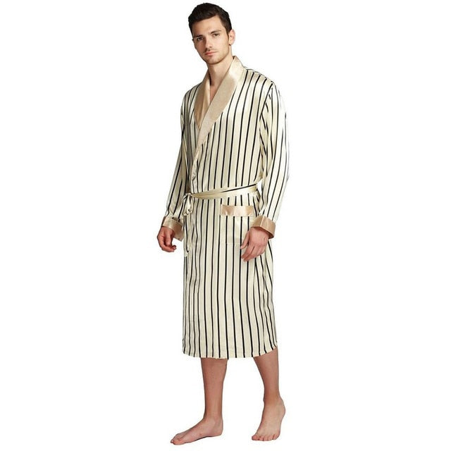 Mens Silk Satin Pajamas Pajama Pyjamas PJS Sleepwear Robe Robes Nightgown  Robes   S M  L XL 2XL 3XL Plus Beige Blue Striped - iregalijoy.com