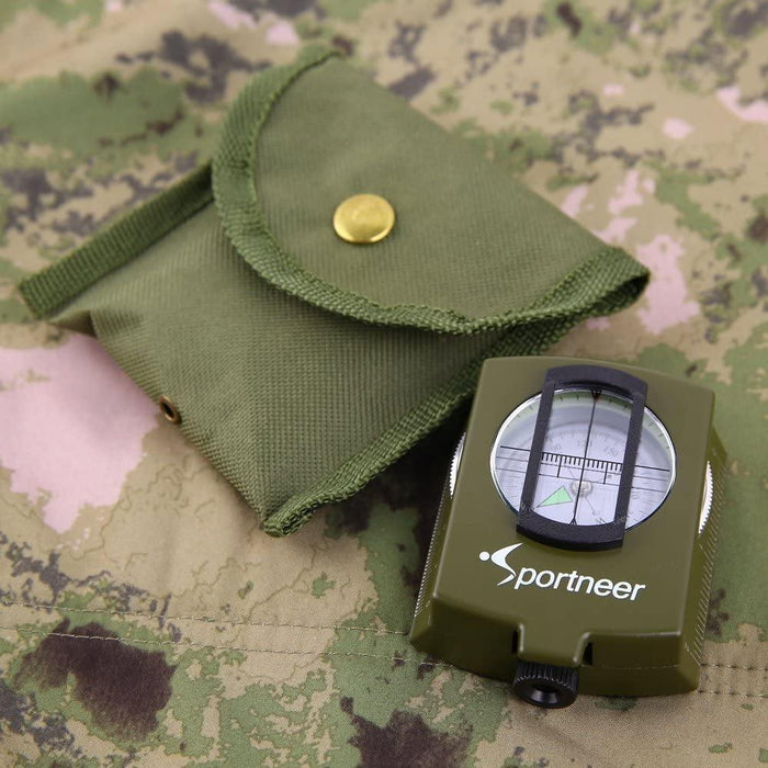 Military Lensatic and Prismatic Sighting Survival Emergency Compass with Pouch - iregalijoy.com