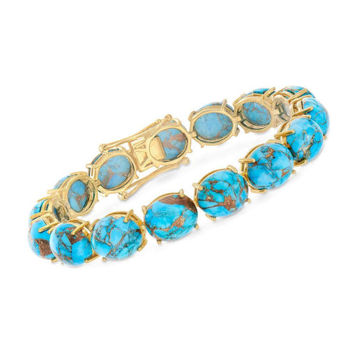 Mohave Turquoise Bracelet in 18kt Gold Over Sterling - iregali