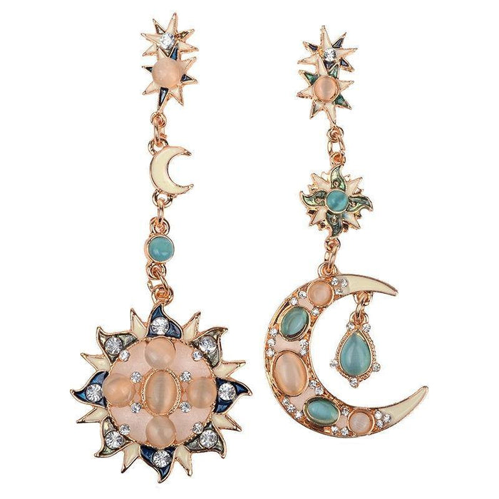 Moonstone Gem Bohemian Sun Moon Star Shiny Crystal Earrings Asymmetry Novel Jewelry For Women Brincos Grandes Wholesale Dropship - iregali