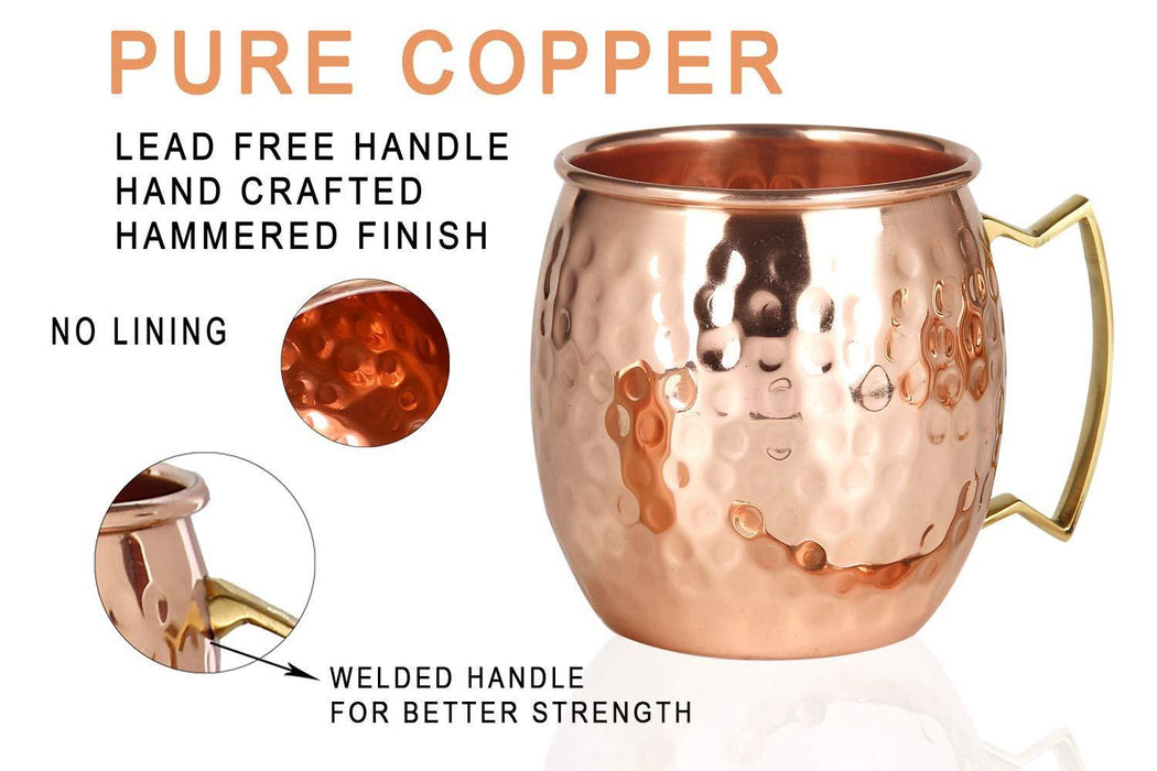Moscow Mule Copper Mugs - Set of 4-100% HANDCRAFTED Food Safe Pure Solid Copper Mugs - 16 oz - iregalijoy.com