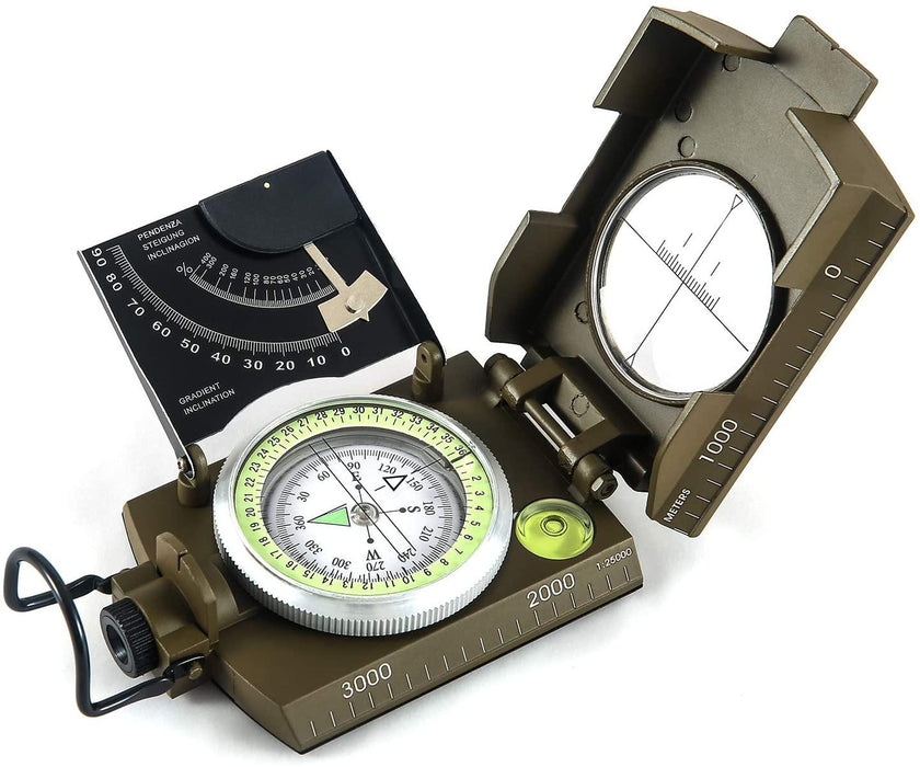 Multifunctional Military Metal Sighting Navigation Compass with Inclinometer | Impact Resistant & Waterproof Compass for Hiking, Camping - iregalijoy.com