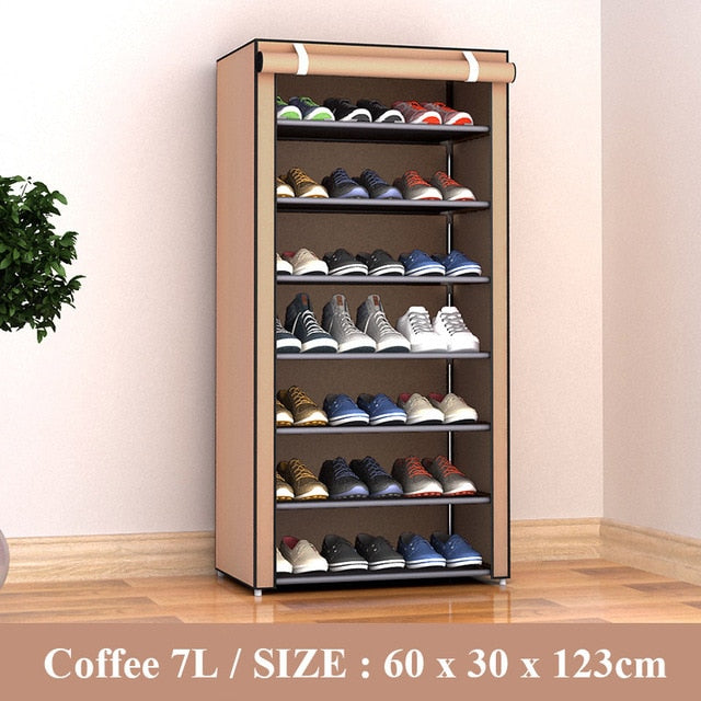Multilayer Shoe Rack Detachable Dustproof Nonwoven Fabric Shoe Cabinet Home Standing Space-saving Stand Holder Shoes Organizer - iregali