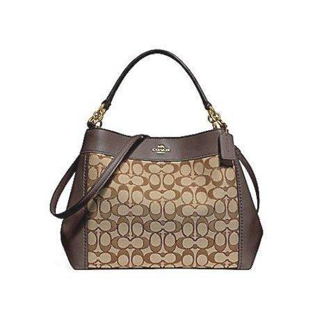 NEW COACH (F29548) KHAKI BROWN SMALL LEXY CANVAS LEATHER SHOULDER BAG HANDBAG - iregali