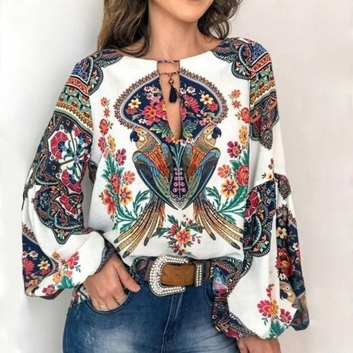Women Bohemian Clothing Plus Size Blouse Shirt Vintage Floral Print Tops Ladies S Blouses Casual - iregalijoy.com