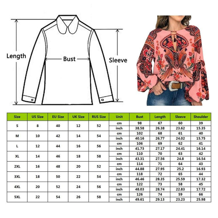 Women Bohemian Clothing Plus Size Blouse Shirt Vintage Floral Print Tops Ladies S Blouses Casual - iregali