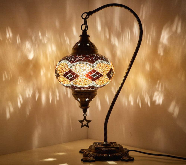 New BOSPHORUS Stunning Handmade Swan Neck Turkish Moroccan Mosaic Glass lamp - iregalijoy.com