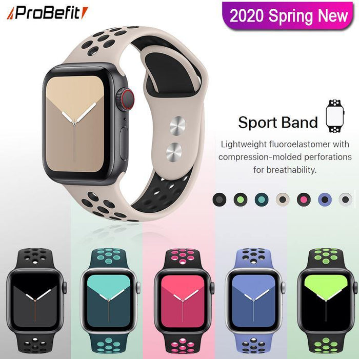 New Breathable Silicone Sports Band for Apple Watch 5 4 3 2 1 42MM 38MM rubber strap bracelet  bands for Iwatch 5 4 3 40mm 44mm - iregalijoy.com