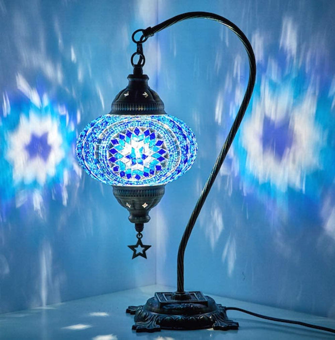 New BOSPHORUS Stunning Handmade Swan Neck Turkish Moroccan Mosaic Glass Table Desk Bedside Lamp Light with Bronze Base (Blue) - iregali