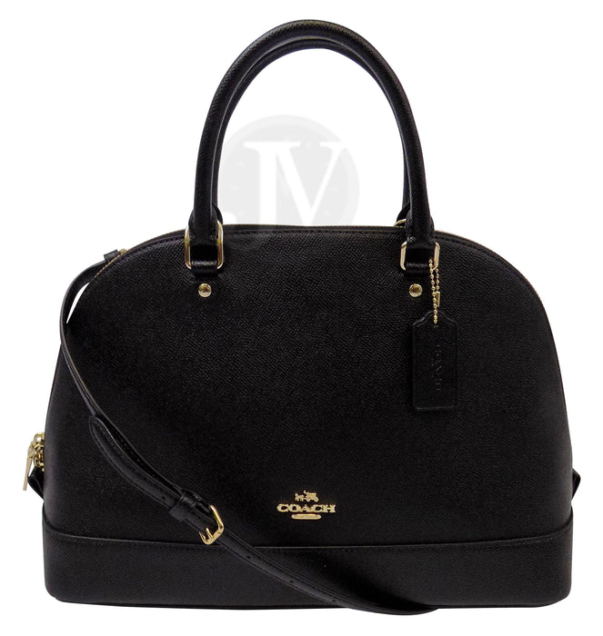 New Coach (F57524) Sierra Black Crossgrain Leather Satchel Dome Handbag - iregalijoy.com