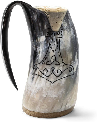 "Genuine Viking Drinking Horn Mug - 100% Authentic Beer Horn Tankard w/Thor's Hammer Engraving |""The Mjolnir"", Polished, Large - iregali"