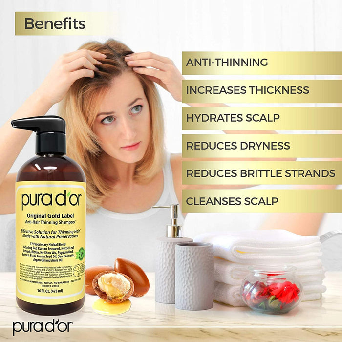 PURA D'OR Original Gold Label Anti-Thinning Shampoo Clinically Tested, Infused with Argan Oil - iregalijoy.com