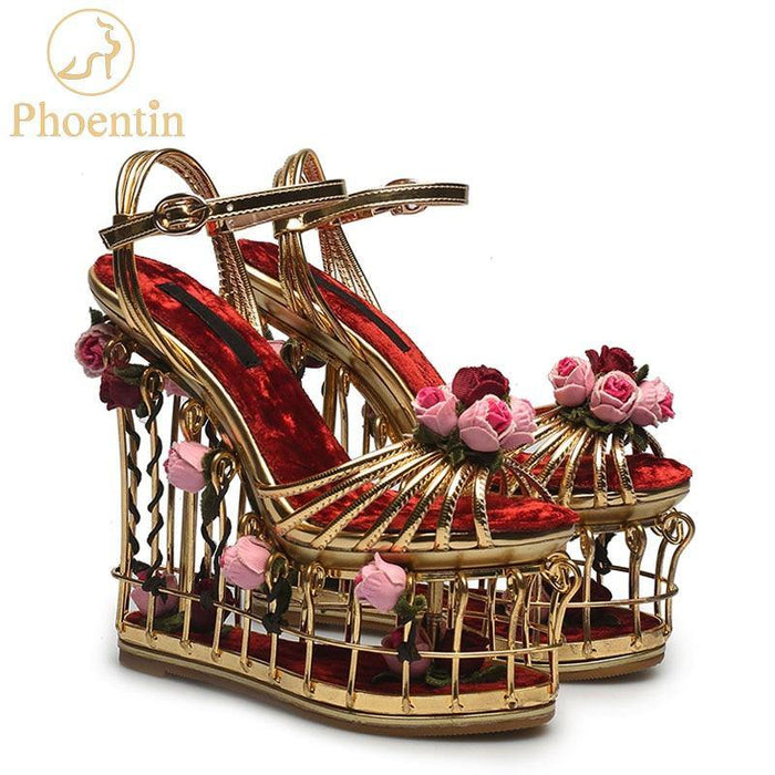 gold flower sandals women super high heel 16cm platform wedding shoes ankle strap buckle luxury party shoes woman - iregalijoy.com
