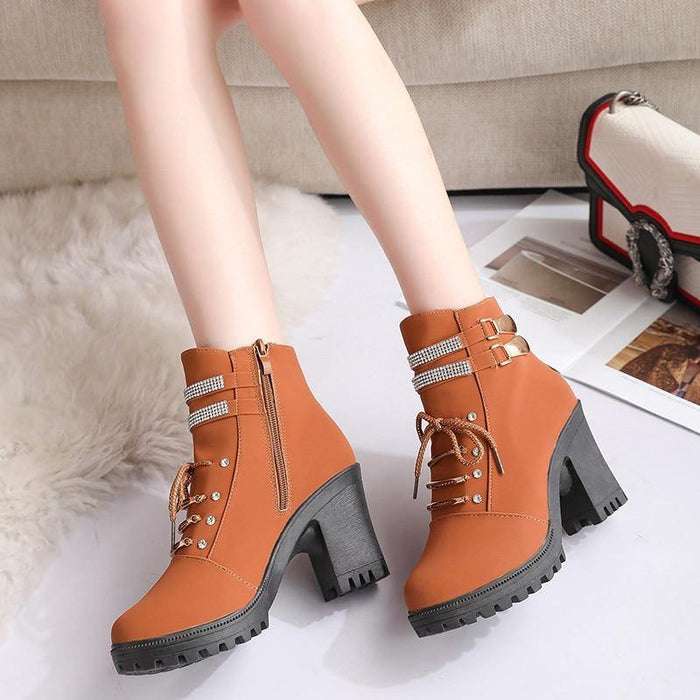 Plus Size 35-40 Winter Casual Women Pumps Warm Ankle Boots Waterproof High Heels Snow Martin Boots women Shoes Botas Mujer - iregali