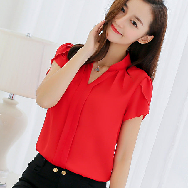 Summer Short Sleeve Red Office Ladies Chiffon Shirt elegant Work Top Casual Female Clothing - iregali