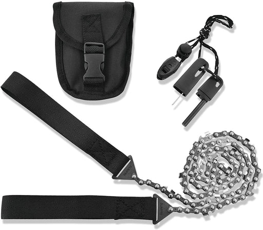 Pocket Chainsaw Survival Gear -36 Inch Long Chain & Free Fire Starter Kit -Compact Hand Saw for Trees IREGALI