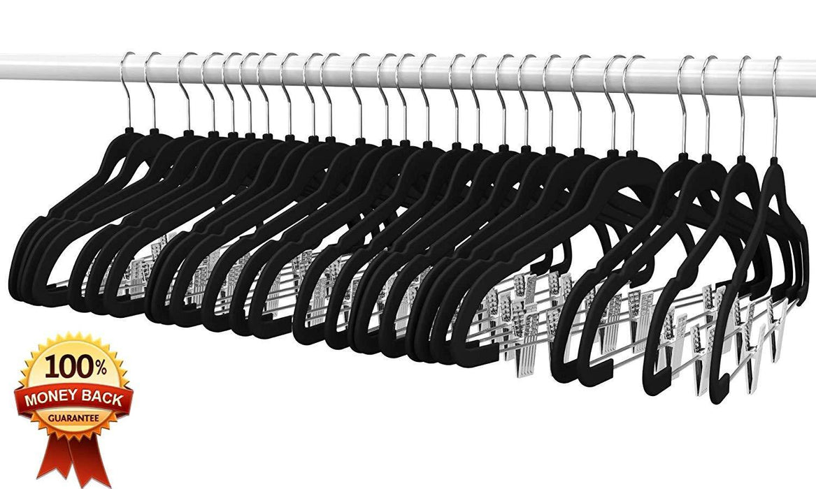 Premium Quality Velvet Clip Hangers (Set of 26) Ultra Thin No Slip Hangers Great for Skirts, Dresses, Suits, Shirts & More - iregalijoy.com