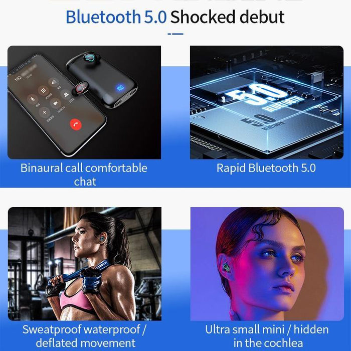 Q66 Wireless V5.0 Bluetooth Earphone HD Stereo Headphone Sports Waterproof Headset With Dual Mic and 6000mAh Battery Charge Case - iregalijoy.com