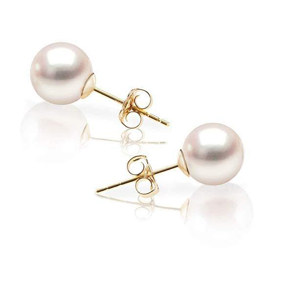 Quality Round White Cultured Akoya Pearl Earrings for Women - iregalijoy.com