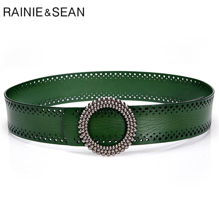 Blackish Green Women Belt No Hole Ladies Belts for Dresses Real Leather High Quality Apparel Accessories 100cm - iregalijoy.com