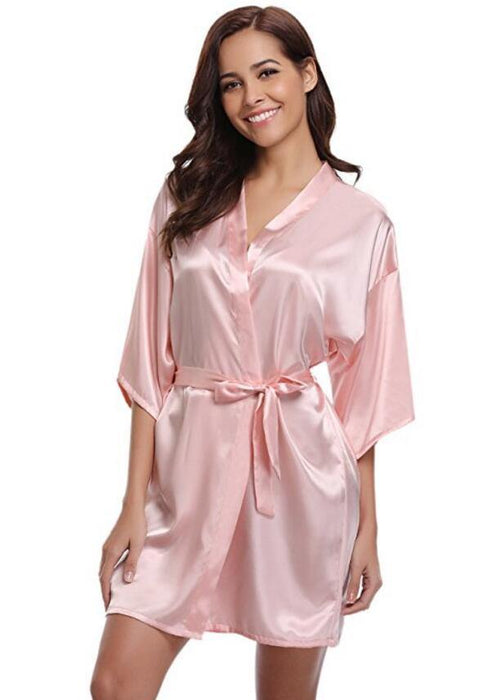 New Silk Kimono Robe Bathrobe Women Silk Bridesmaid Robes Sexy Navy Blue Robes Satin Robe Ladies Dressing Gowns - iregalijoy.com