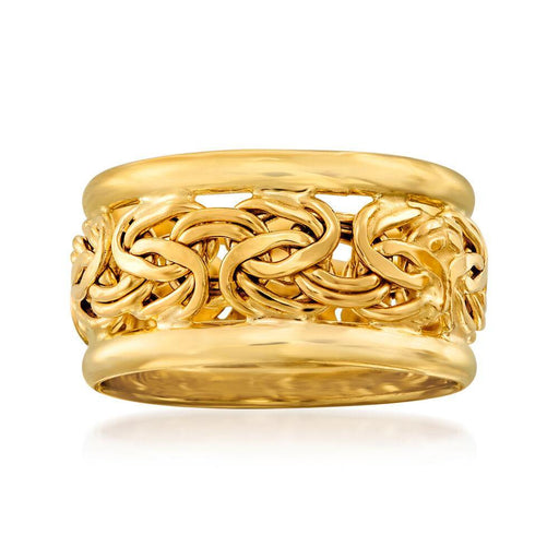 Ross-Simons 18kt Yellow Gold Bordered Byzantine Ring For Women men - iregali