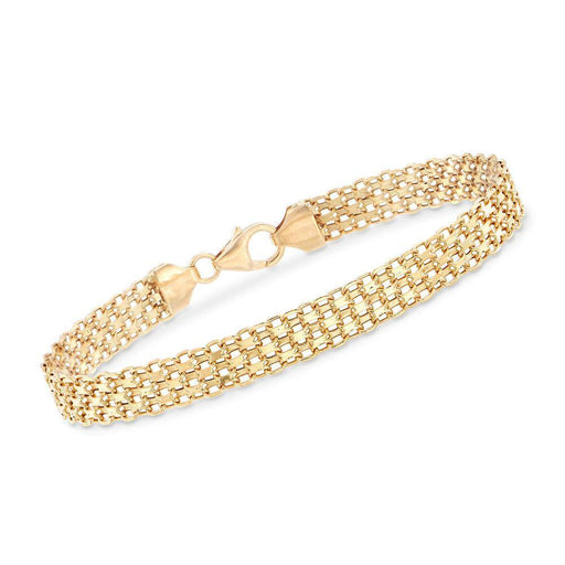 Ross-Simons Italian 18kt Yellow Gold Bismark-Link Bracelet For Women 7, 8 Inch - iregalijoy.com