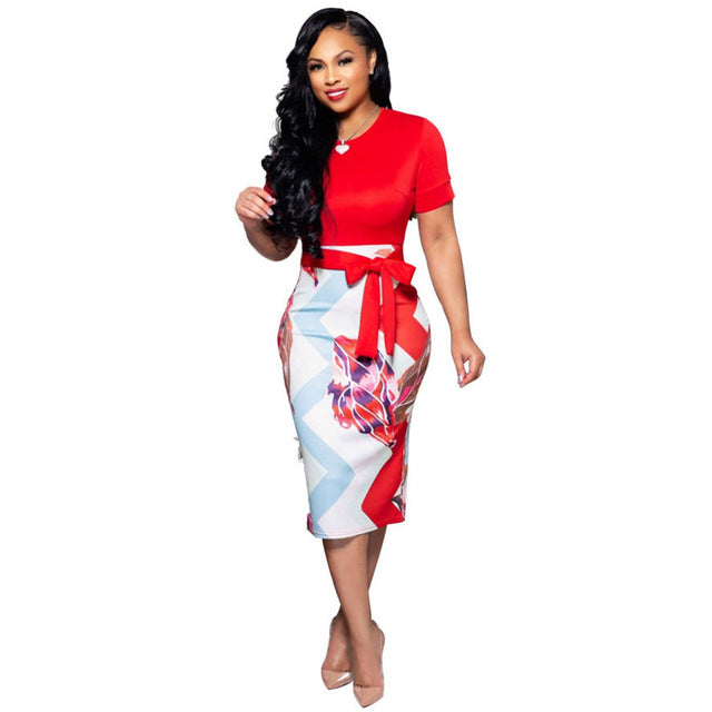 Women Print Short Sleeve Bodycon Midi Dress for Work Office Lady Summer Female Size S-XXL - iregali