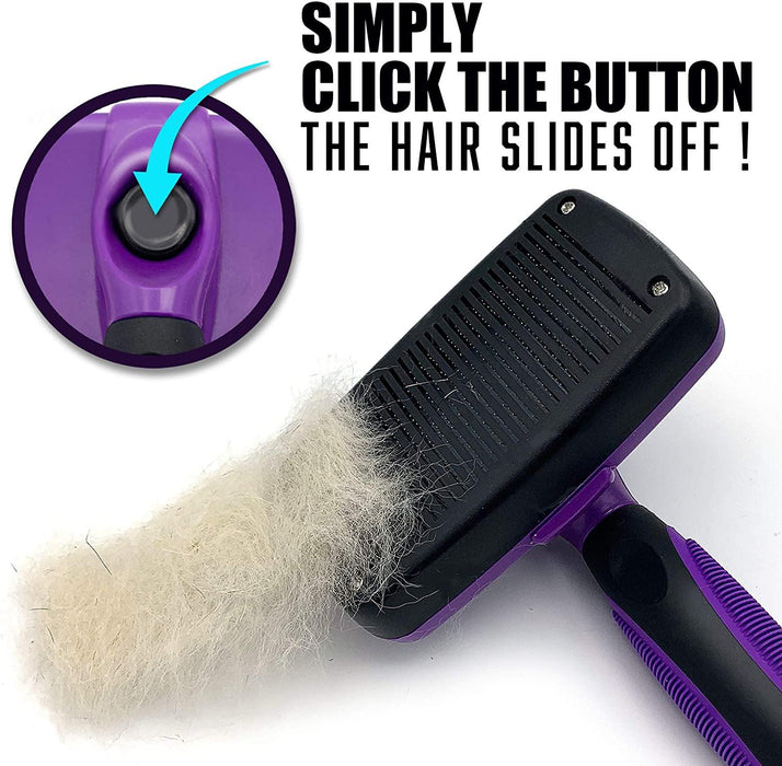 Self Cleaning Slicker Brush Shedding Grooming Tool for Dog Cat and Pets - iregalijoy.com
