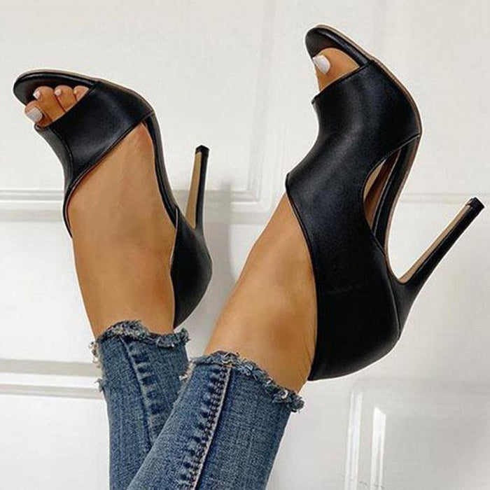Sexy Women Irregular Pumps High Stiletto Heels Leather Black Open Toe Ladies Sandals Party Wedding Shoes Chaussures Femme - iregali