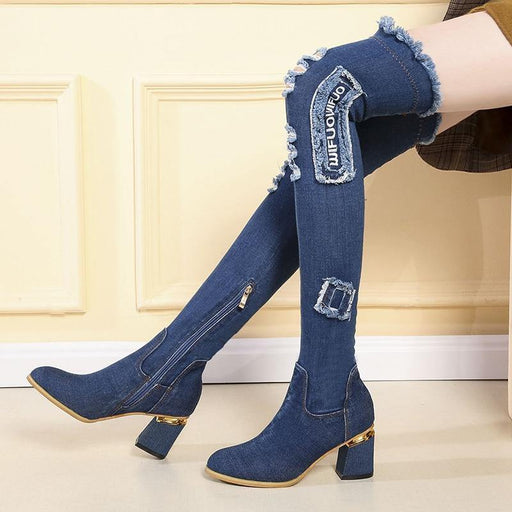 Shoes Woman Casual Tassel Cut Out Jeans Long Botas Mujer Womens Denim Boots Over The Knee Pointed Toe Thick High Heels - iregali
