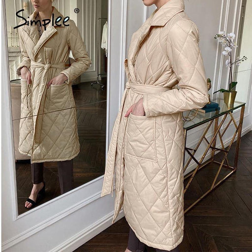 Long straight winter coat with rhombus pattern Casual sashes women parkas Deep pockets tailored collar stylish outerwear - iregalijoy.com