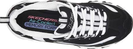 Skechers Women's D'Lites Memory Foam Lace-up Sneaker BLACK/WHITE - iregalijoy.com