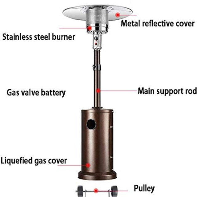 Stainless Steel Outdoor Patio Heater Propane Patio Heater with Wheels and Table Large - iregalijoy.com