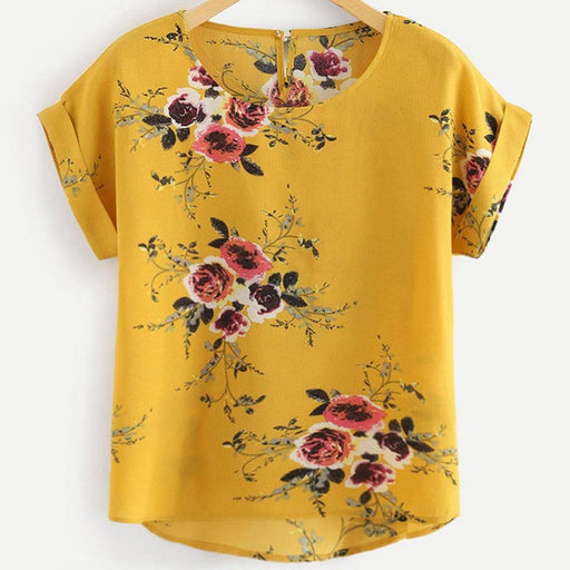 Summer Fashion Floral Print Blouse Pullover Ladies O-Neck Tee Tops Female Women's Short Sleeve Shirt Blusas Femininas Clothing - iregali